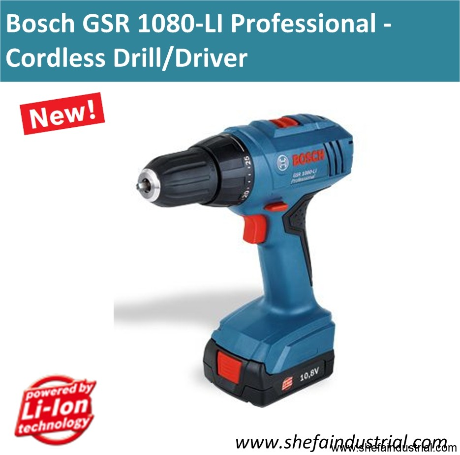 bosch gsr 1080 li professional cordless drill driver shefa industrial products inc. Black Bedroom Furniture Sets. Home Design Ideas