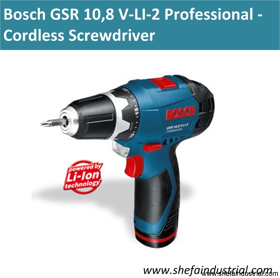 bosch gsr 10 8 v li 2 professional cordless drill driver shefa industrial products inc. Black Bedroom Furniture Sets. Home Design Ideas