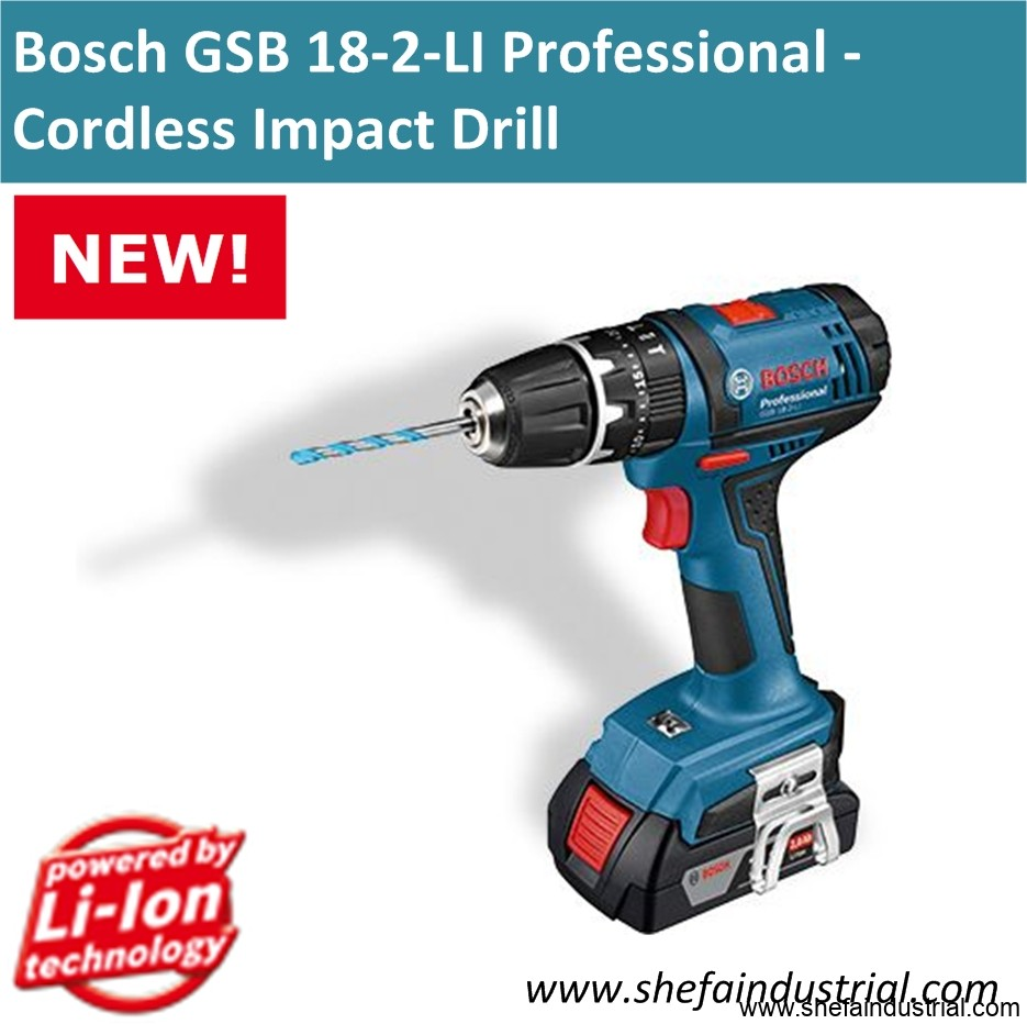 bosch gsb 18 2 li professional cordless impact drill shefa industrial products inc. Black Bedroom Furniture Sets. Home Design Ideas