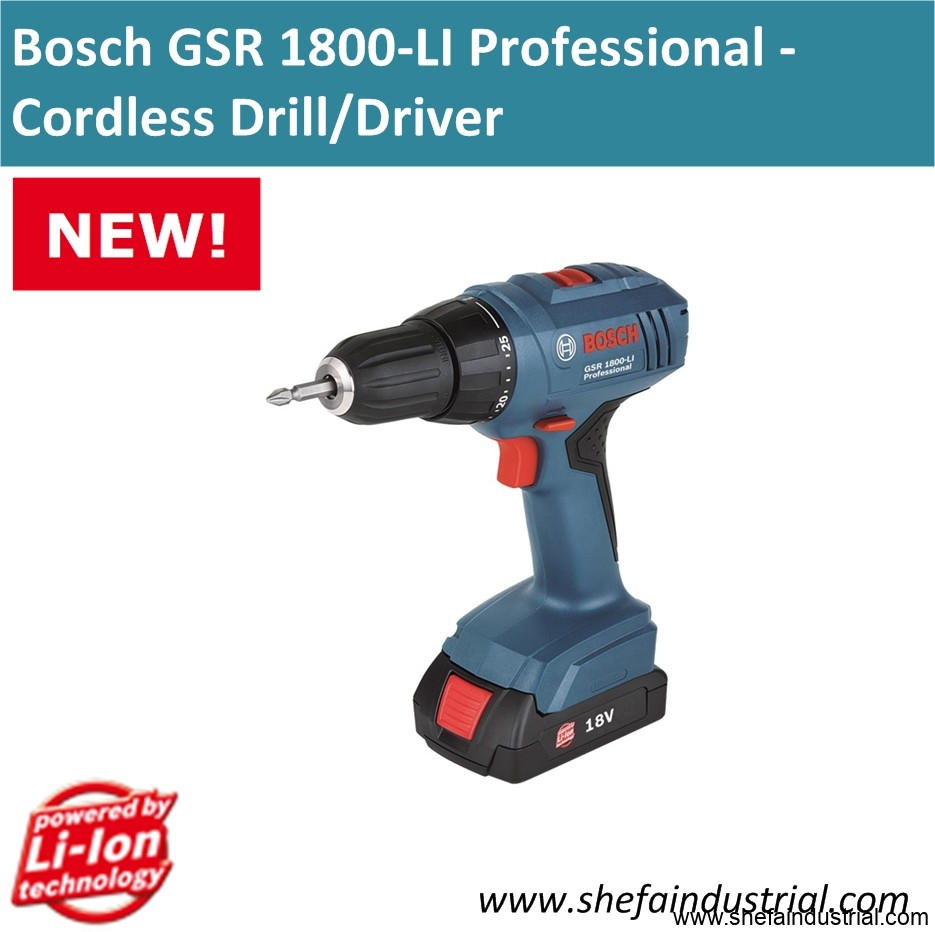 bosch gsr 1800 li professional cordless drill driver shefa industrial products inc. Black Bedroom Furniture Sets. Home Design Ideas