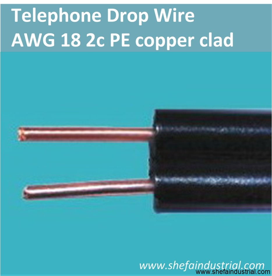 Telephone drop wire – AWG 18 2c PE copper clad – Shefa Industrial ...
