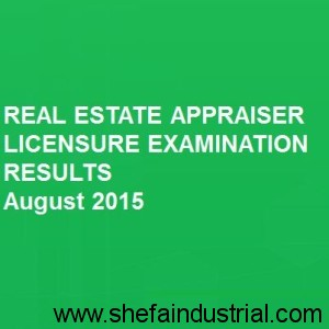Real Estate Appraiser - Exam Results 2015